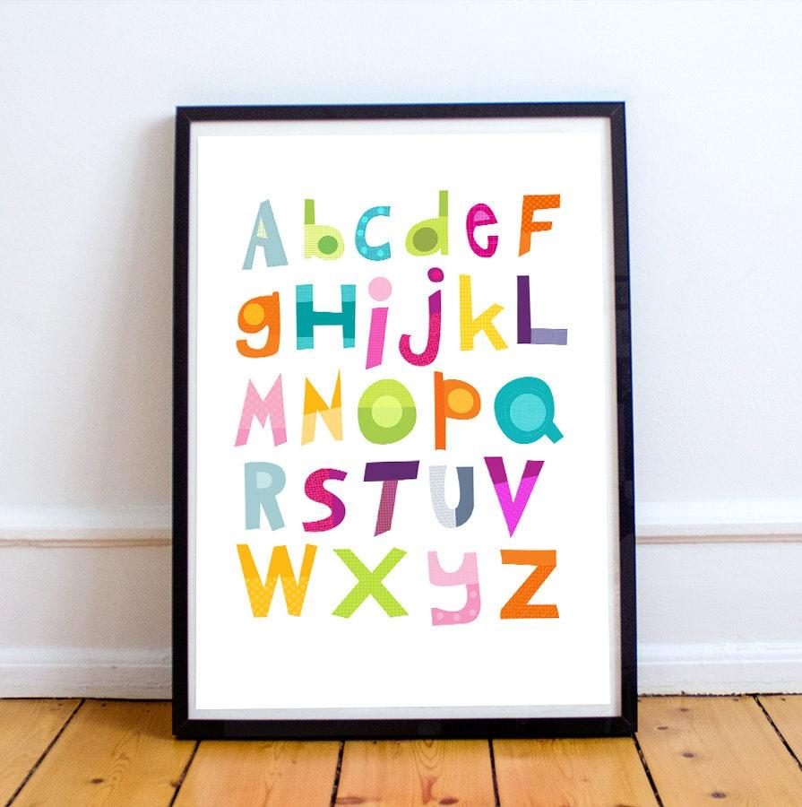 Alphabet nursery decor alphabet print baby nursery decor for Alphabet mural nursery