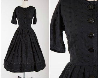 Vintage 1950s Dress • Boisterious Tempo • Black Cotton 50s Day Dress with Embroidered Polka Dots Size Small