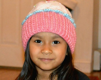 Crocheted Beaded Cup Cake Hat- Toddler/ Kids Size- Made to Order