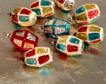 Glass Christmas Lanterns Lights Multi Colored Red Silver Blue Vintage Tree Ornament Set of 9 Shiny Bright  Colorful