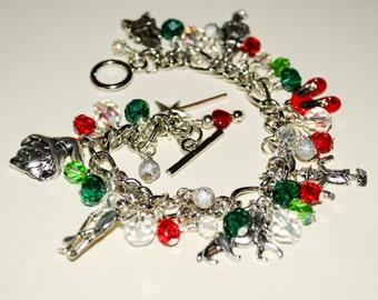 Wizard of Oz Charm Bracelet, The Wonderful Wizard of Oz Jewelry, Theme Bracelet, Ornate Charm Bracelet, Dorothy Tin Man Scarecrow, Green Red