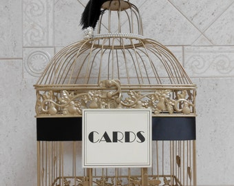 Large Art Deco / Great Gatsby Themed Wedding Birdcage / Wedding Card Holder / Wedding Card Box / Wedding Wishes / 1920's Vintage Theme