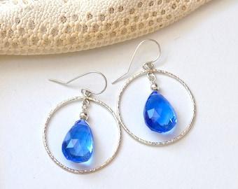 Blue Quartz Earrings / Sterling Silver Blue stone Earrings  /  Gift For Her