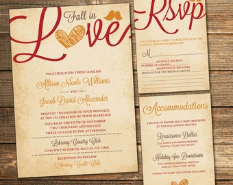 Fall Wedding Invitation Suite, Autumn Wedding, Red Orange and Brown, Vintage, RSVP, Accommodations, Printable Wedding Suite (PRINTABLE FILE)