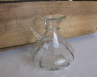 Clear Pressed Glass Creamer, Small Clear Pitcher, Small Cruet, 4 Inch Creamer, Pitcher, Serving, Dinnerwear, Kitchen Gadget MyVintageTable