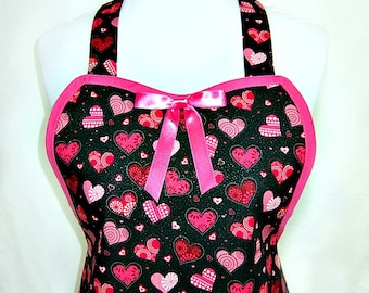 Apron VALENTINE Ooh La La PINK Black & SEXY, Glitter Accents, Glamour Hostess Pretty Party Unique Gift