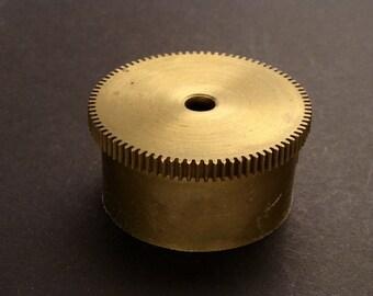 Large Brass Cylinder Gear, Mainspring Barrel from Vintage Clock Movement, Vintage Clockwork Mechanism Parts, Steampunk Art Supplies 03878