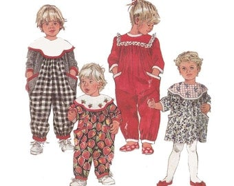 Sale! Toddler Dress and Jumpsuit Pattern Simplicity 8199 Sizes 1 to 4 Childrens Vintage 1990s Sewing Pattern Contrast Collar or Eyelet Trim