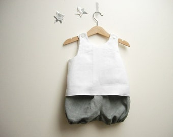 Baby boy outfit with sleeveless top and bloomers in pure linen white and grey size 12 months