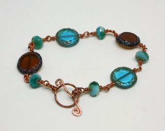 Czech Glass and Copper Wire-Wrapped Bead Bracelet, Blue and Copper Bracelet, Wire Wrapped Bracelet, Copper Jewelry, Handmade Jewelry