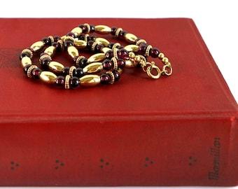 14K Gold Filled Garnet Bead Necklace, Vintage Victorian Revival Gold Purple Garnet Beaded Necklace