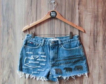 Elephant denim shorts | High waisted denim shorts | Festival shorts | Bohemian shorts | Ripped denim | Painted denim | Aztec tribal denim
