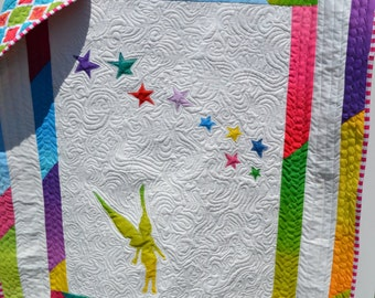 Pixie Dust Quilt Rainbow Magical Fairy Baby Child Lap Handmade Crib Cot Quilt Fantasy Whimsy Whimsical Decor Quilt
