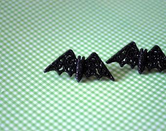 Bat Earrings -- Studs, Silver Bats, Black