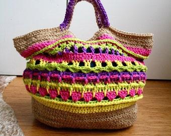 Crochet pattern, market shopper bag pattern, granny crochet bag pattern, crochet shopper pattern 234 Instant Download