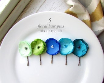 """MORE COLORS 5 Small Silk Hair Flowers Clip Set, Ombre Bridesmaid Blue Hair Pins Assorted Satin Flower Bobby 1.5"""", Pearls, Floral hair piece"""