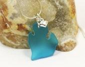 Sea glass / MI Shaped / Pendant Necklace / Sterling Silver