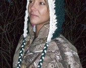 Women's crochet hoodie, hat, beanie, hoodie, women girls accessories, winter outerwear, SaLe. Christmas gift, Green/White Hood with braids