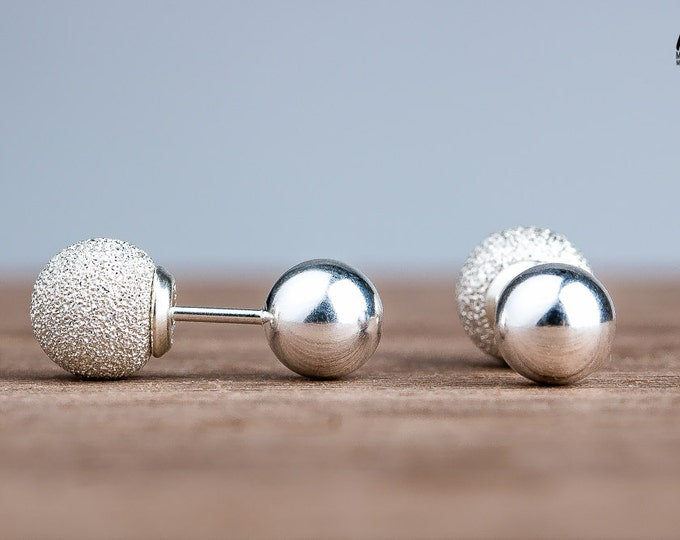 Double Sided Earrings - Silver Front Back Earrings - Solid Sterling Silver ball earrings - Double sided earrings with Stardust textured back