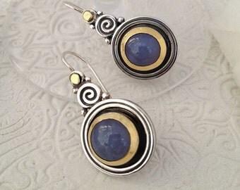 Calcedony Earrings, 22K Gold Earrings, Gemstone Earrings, Silver & Gold, Statement jewelry, Gold Dangle Earrings, Silver Dangle Earrings