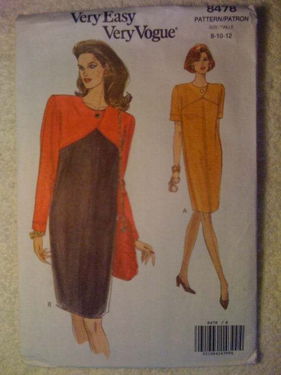 Very Easy Very Vogue 8478 Sewing Pattern 1990s Misses and Misses Petite Dress Size 8-10-12