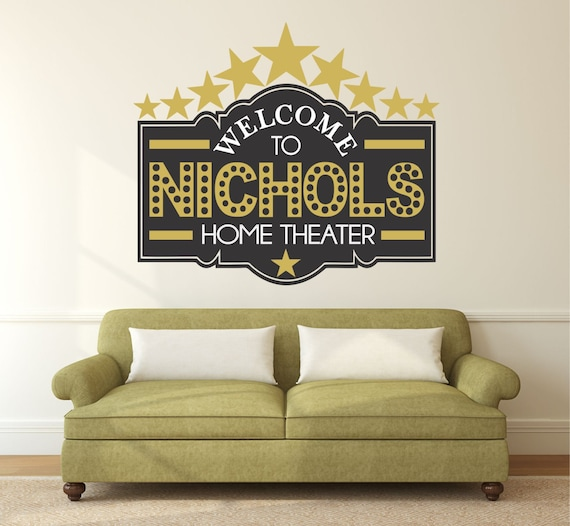home theater decor home theater sign movie theater decor. Black Bedroom Furniture Sets. Home Design Ideas