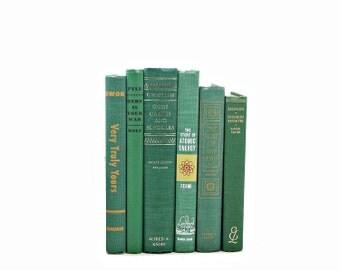 Green Old BOoks, Decorative Books, Book Collection, BOok Set, Wedding Centerpiece, Book Decor, Photo Props, Home Decor,Book Lover Gift