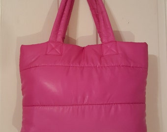 PUFFY TOTE BAG // 80's Pink Workout Bag Purse Travel Carry All On Gym Weekender Large Oversized