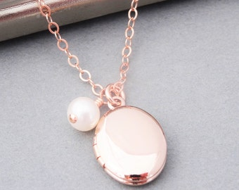 Rose Gold Locket Necklace & Pearl, Rose Gold Necklace, Wedding Jewelry, Bridal Jewelry, Rose Gold, Oval Locket, Gold Locket, Small Locket