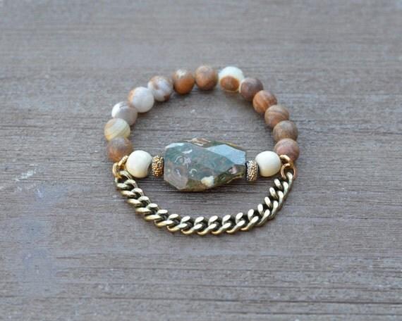 Chunky Beaded Stretch Bracelet Green Jade - Stone Bead Statement Bracelet - Wood Bead Bracelet - Stackable Beaded Bracelet - Arm Candy