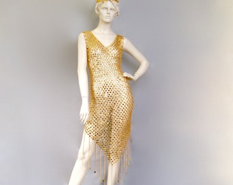 Vintage 1970s Space Age Futuristic Metallic Gold Chainmail Dress With Matching Hat