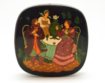 "Russian Lacquer Box ""Tea Time"", Palekh Miniature Hand Painted Box, Trinket Box, Jewelry Box, Collectible Russian Lacquer Miniature Fine Art"
