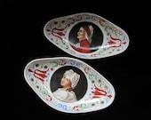 Richard Ginori Dish Set Trinket Bowl Plates Bowls Pair Dante Beatrice Italy Vintage Collectible Serving Porcelain