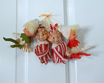 Vintage Pixies Knee Huggers Xmas  Holiday Red White Green Ornaments.