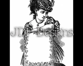 Instant Digital Download, Victorian Era Graphic, Woman with Frame, Text Box, Printable Image, Scrapbook, Steampunk, Label, Costume