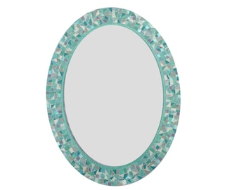 Oval Mosaic Mirror, Wall Mirror, Sea Green White and Gray, Decorative Mirror