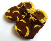 banana baby shoes with bananas monkey baby yellow and brown baby shoes vegan baby booties soft sole shoes banana booties banana baby clothes