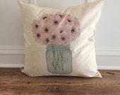Poppies Mason Jar Pillow Cover