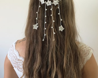 Bridal Boho Hair Accessory, Wedding Crochet Tiara, Oya Ivory Flowers and Pearls Beaded Crown, Bridal Hair Piece, ReddApple