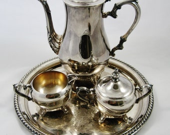 International Silver Co. Coffee Set, Silver Plate Victorian Style Coffee Pot, Creamer, Sugar and Tray
