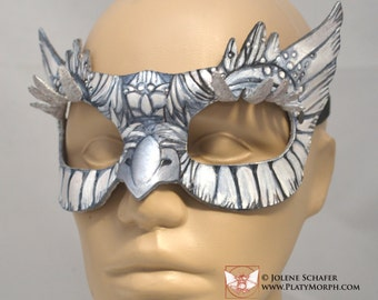 Horned Snowy Grey Moon Owlet Night Owl Leather Cosplay Masquerade Mask