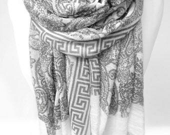 Summer Scarf Shawl. Gift for Her. Woman Soft Scarf. Paisley Scarf. Meandre Greek key fret Pattern. Grey White. 34x74in. Ready2Ship.