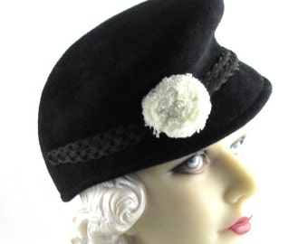 Womens Hat Black Velour Fur Felt Hat Handmade Hat White Flower Church Cloche Derby Ascot Races Fedora Art Deco Custom Made for Each Client