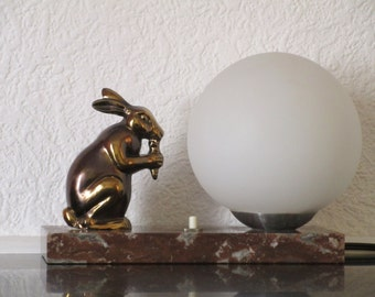 RESERVED for C -French Art Deco Marvelous Rabbit Lamp Light on Marble 1940s-Amazing Condition-Eating a Carrot - Exquisite Detail-Larger Size