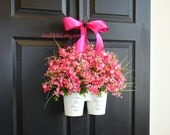 spring wreath Easter wreath floral arrangement container front door wreaths decorations decor flowers gift ,orange coral wreaths