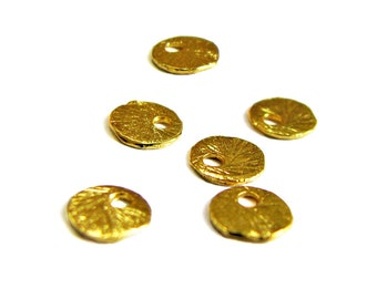 NEW! Gold Vermeil 6mm Disk Charms 4 pcs Small Brushed Texture Round Charm