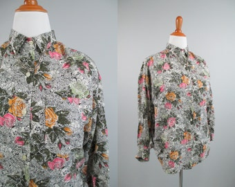 Vtg 80s//90s Grey Scale Black Floral Blossom 90s Revival Blouse \\ MeDiuM // Gray Oversized Billowy Loose Flowy ShiRt ToP