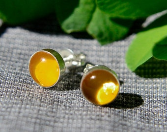 Amber Earrings, Silver Post Earrings with Amber Cabochon, Amber Stud Earrings in Sterling Silver, Abish Jewelry Works