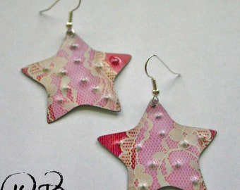Pink lace starfish earrings. Reclaimed recycled tin art