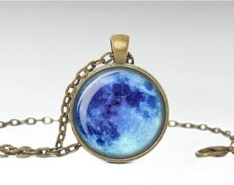 Blue Moon Pendant, Full Moon Jewelry, Blue Full Moon Necklace [B56]